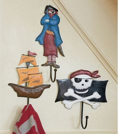 towel hooks for his pirate bathroom - must make these!
