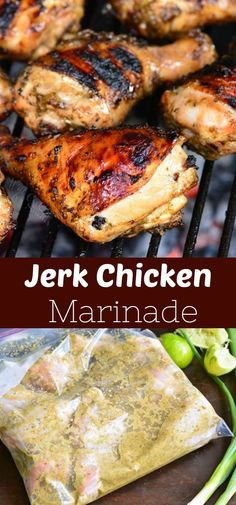 Jerk Chicken marinated in flavorful and spicy Jerk Chicken Marinade and cooked on the grill. Jerk marinade is made with scallions, spicy pepper and spices. Spicy Chicken Marinades, Jerk Chicken Marinade, Grilled Jerk Chicken, Chicken Marinade Recipes, Grilled Chicken Recipes, Best Chicken Recipes, Jamaican Jerk Marinade Recipe, Bbq Marinated Chicken, Stuffed Peppers