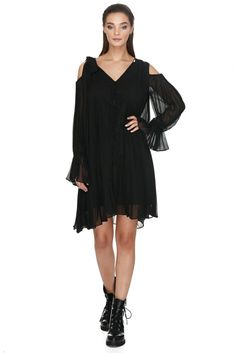 Vero Milano little black pleated dress featuring full trumpet sleeves and cutout shoulders. Ideally accessorized with a belt, you'll wear it and adore it forever after. Trumpet, Dresses Online, Designer Dresses, Summer Outfits, Cold Shoulder Dress, Feminine, Spring Summer, Autumn, Belt