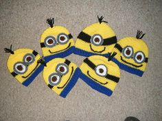 Crocheted Minion hats. Yellow with black band by CheriesSundries
