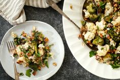 Roasted cauliflower and broccoli with a shallot and anchovy vinagrette