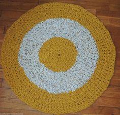 "Hand Made Crochet Rag Rug ~NEW 33"" MUSTARD ~ COUNTRY PRIM SHABBY PERFECT"