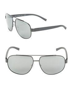 Armani Exchange AX2019S 60mm Aviator Sunglasses Men's Silver