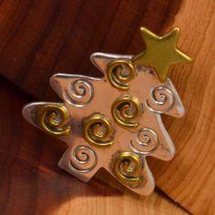 Vintage Sterling Silver - MEXICO HOB Brass Christmas Tree 10g - Brooch TI751