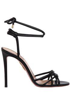 AQUAZZURA 105MM LAURA TUBULAR LEATHER SANDALS. #aquazzura #shoes #