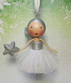 Ballerina Clothespin Doll Ornament