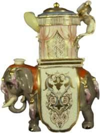 Teapot #116  Elephant grey stand with Chinese red, orange, pink and gold decorations; white air vent on head; white shield enhanced with gilding on sides of body; teapot is cylindrical in shape; howdah decorated with
