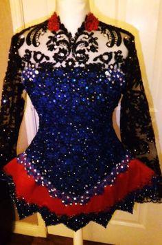 Elegant Black AveCeltic Irish Dance Dress Solo Costume For Sale