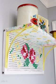 This vintage style cross stitch shelf is perfect for any room in the home. Cross Stitch Kitchen, Cross Stitch Art, Cross Stitch Designs, Cross Stitching, Cross Stitch Embroidery, Embroidery Patterns, Cross Stitch Patterns, Painted Pegboard, Pastel House