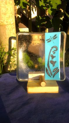 Dragonfly/Flower Design Fused Glass Plate by Aniaseastar on Etsy, $25.00