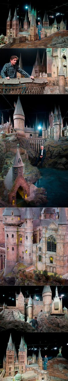 """Jose Granell, model supervisor, unveils a model of Hogwarts castle at the Warner Bros Studio Tour, in Watford, London, on March 1, 2012. The Hogwarts castle model was built for the first film """"Harry Potter and the Philosopher's Stone"""", it was created for aerial photography and was digitally scanned for CGI scenes. It took 86 artists and crew members to construct, it measures over 50 feet in diameter and has over 2,500 fiber optic lights. (AP Photo/Jonathan Short)"""""""