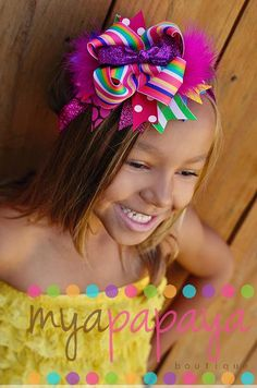 Candyland Rainbow Glitter Boutique Bow OTT on by MyaPapayaBoutique, $14.50