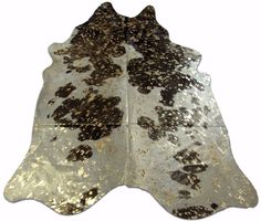 Gold Metallic Cowhide Rug Size: 8' X 6.5' Black and White Cow Hide Rug j-099 #CowhidesUSA #AcidWashed