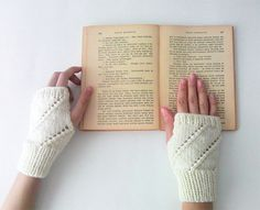 Hand Knit Fingerless Gloves in Ivory  Arm Warmers by naryaboutique, $21.00