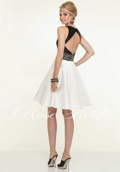 Made In China Elegant A-line Deep V-neck Beading Above Knee Length Satin Fabric Cocktail Dresses
