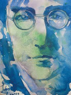 John Lennon  ORIGINAL Watercolor Portrait 10x8 by sofiartgallery,