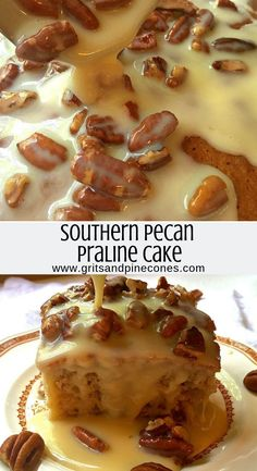 Southern Pecan Praline Cake - Oh So Easy and Delicious Pecan and praline is a southern staple. It's about as southern as you can get on a dish. If you're looking for a dessert that is sweet with a little crunch, this is the cake for you. Pecan Praline Cake, Pecan Pralines, Southern Praline Cake, Butter Pecan Cake, Praline Bundt Cake Recipe, Southern Deserts, Peanut Butter, Easy Desserts, Delicious Desserts