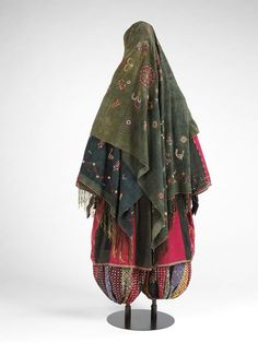 Iran, woman's ensemble with trousers, type worn by women in some of the Zoroastrian communities, cotton, embroidered with silk, with some panels of printed cotton, 1840-1870