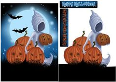Ghost And Pumpkin Halloween Card on Craftsuprint designed by Tanya Hall - Ghost And Pumpkin Halloween Card, also included a happy halloween birthday for those who have double the fun - Now available for download!