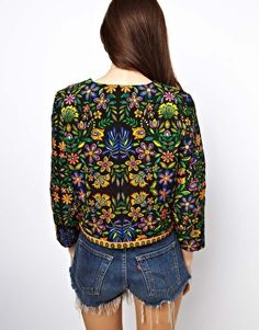 ASOS Jacket In Quilted Folk Print