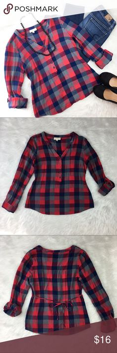 ModCloth Plaid Top ModCloth plaid top. Size medium. Approximate measurements flat laid are 24' long, 17' bust, and 22' sleeves unrolled. GUC with small amount of wear. Has a tie back. Material is flannel like.❌No trades ❌ Modeling ❌No PayPal or off Posh transactions ❤️ I 💕Bundles ❤️Reasonable Offers PLEASE ❤️ ModCloth Tops Tees - Long Sleeve