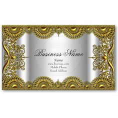 Elegant Classy Ornate Silver Gold Lace Profile Business Cards