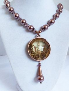 """COPPER COLOR METAL PEARL FAUX & CRYSTAL BEADS BUTTERFLY MEDALLION NECKLACE 17""""L 