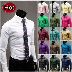 Hot Sale Fashion Mens Shirt Designer Casual Slim Fit Solid Candy Color 17 Colors Dress shirts Asian size M-3XL $9.70