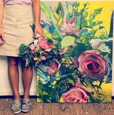 Kate Mullin Art. Paintings and Floral arrangement from Branch Studio.