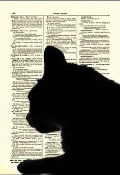 Dictionary Art Page, Cat Art Print, Antique Dictionary Page, Animal Decor, Cat Silhoutette. $10.00, via Etsy.