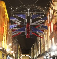 Union flag in #Carnaby at night 2014