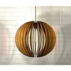 Thr3e Lighting 1-Light Modern Laser Cut Natural Wood Globe Pendant