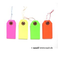 Nauli - Neon Gift Tags green pink red yellow