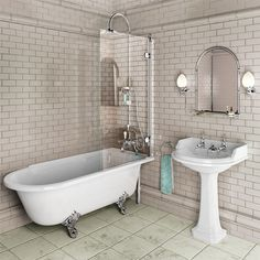 Showering roll top bath, screen with minimal fixings