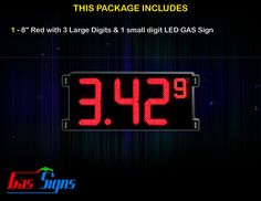 8 Inch Gas Price LED Sign (Digital) Red with 3 Large Digits & 1 small digit with housing dimension H293mm x W590mm x D55mmand format 8.88 9 comes with complete set of Control Box, Power Cable, Signal Cable & 2 RF Remote Controls (Free remote controls).