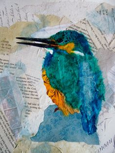 ORIGINAL collage of a kingfisher £50.00 available from folksy.com/shops/inkybird