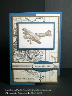 """I thought you might like to see the projects from my """"Cards For Men"""" class. Here's the first one, using the """"Plane and Simple"""" stamp set, wh..."""