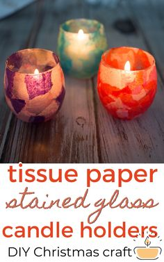 Easy DIY Christmas craft. These cute candle holders are made with modpodge and tissue paper and are perfect gifts kids to make for friends and family. Make some for gift giving! Handmade Gifts For Men, Handcrafted Gifts, Diy Gifts, Inexpensive Christmas Gifts, Christmas Ideas, Christmas Crafts, Glass Votive Candle Holders, Votive Candles, Diy Craft Projects
