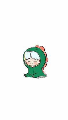 SUGA in a suit of an dinosaurs Bts Chibi, Anime Chibi, Kpop Drawings, Kawaii Drawings, Kawaii Wallpaper, Bts Wallpaper, Fanart Bts, Taehyung Fanart, Dibujos Cute