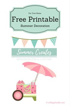 Grab your Free Summer Printable from Craftingafamil.com, Fun, Pink, & fruity Watermelon picture to decorate your home. Easy to print and Frame.