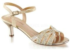Women's Fabulicious Audrey 03 Ankle Strap Sandal - Nude Shimmering Fabric  Sandals