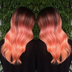 Gorgeous Peach Balayage Ombre. We would love to credit the hair artist. Do you know? Peach hair Color Hair Painting www.hotonbeauty.com