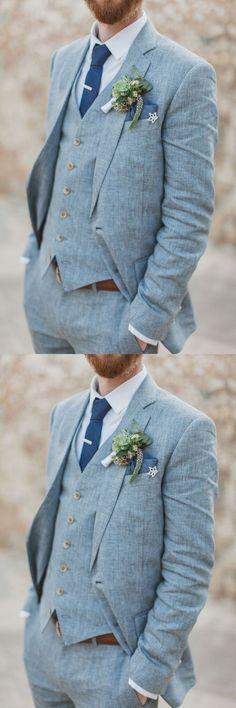 Light Blue Linen Men Suits For Beach Wedding 3 Piece Groom Tuxedos Groomsman Attire Best Man Suit(Jacket+Pants+Vest)terno 2017 #BestManSuits