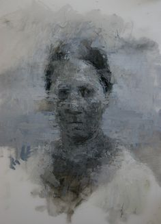 """ann gale/ space between, 2012/  oil and graphite on mylar on paper, 14"""" x 11"""""""