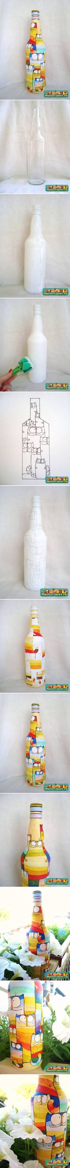 DIY Bottle of Acrylic Cat Painting, How to, how to make, step by step, picture tutorials, diy instructions, craft, do it yourself