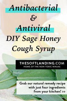 Antibacterial and Antiviral DIY Sage Lemon Cough Syrup, with garlic and lemon #naturalremedy #herbalmedicine #coughsyrup