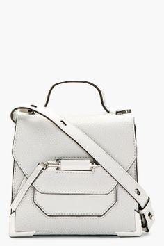 MACKAGE White Pebbled Leather Structured Shoulder Bag