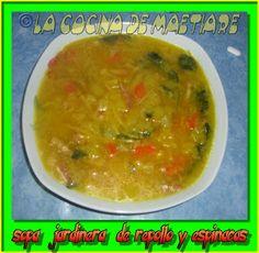 La cocina de Maetiare: Sopa jardinera de repollo y espinacas