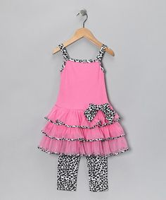 $14.99!  Take a look at this Leopard Ruffle Dress & Leggings - Infant & Girls by Kids Headquarters on #zulily today!