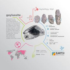 Gaylussite was first described in 1826 for an occurrence in Lagunillas Merida Venezuela. It was named for French chemist Joseph Louis Gay-Lussac. #science #nature #geology #minerals #rocks #infographic #earth #gaylussite